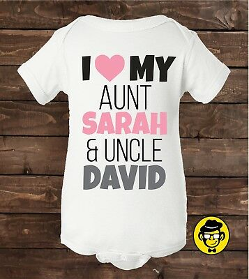 My uncle aunt love me custom baby unisex onesie bodysuit shower i love my aunt name uncle nameby gift negle Gallery