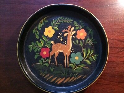 """Antique Hand Painted 10"""" Round Metal Tole Tray Signed RSW 48 on Back"""