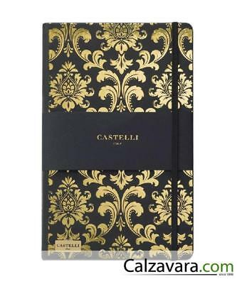 Notebook Castelli Black & Gold Collection cm 13x21 a Righe - Baroque Gold
