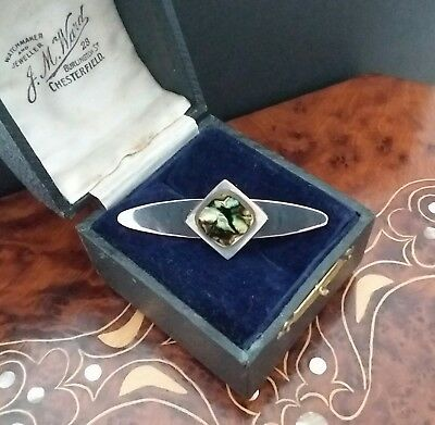 VINTAGE JEWELLERY - Retro 60's 70's stainless steel Abalone modernist brooch