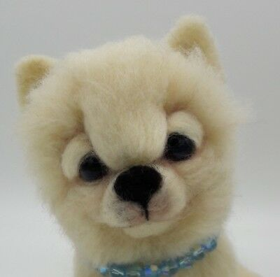 NEEDLE FELTED Cream Pomeranian POM Sparkles Collar Dog  OOAK-Artist-by Sarah