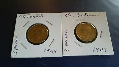 1943 and a 1944 great britain 3 pence coins