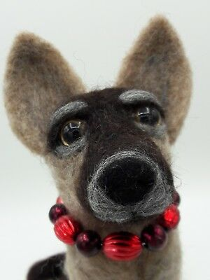 NEEDLE FELTED Shephard Malinois Dog Bead Collar Puppy  OOAK-Artist-by Sarah