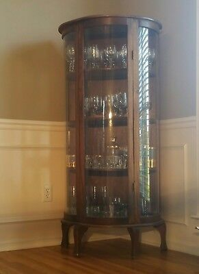 "Vintage Curio Curved Glass Cabinet Oak 60""tallx29wide"