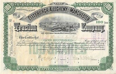 Pittsburgh Allegheny & Manchester Traction Pennsylvania 1892 Stock Certificate