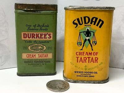 Vintage Spice Tin Lot - Durkee's Sudan Advertising Adv Container Can Small