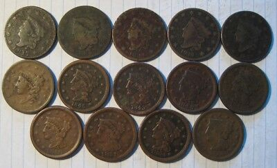 Lot Of 14 Large Cent Coins - 1817-1855 - 11 different dates! Full LIBERTY!