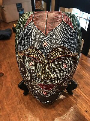 Wooden Indonesian Mask - 12X9 , includes stand.
