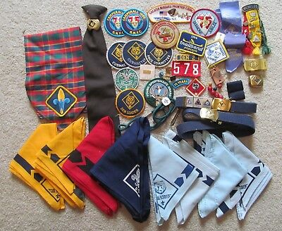 Big Lot Misc. Cub Boy Scout Items - Scarves, Ties, Patches, Pins, Belts, Webelos