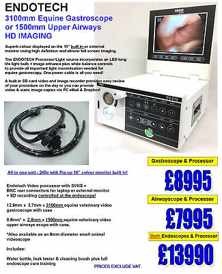 Endotech Equine Veterinary Video Endoscopy System with 3100mm Gastroscope,