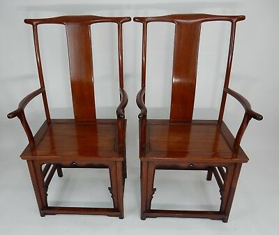 Antique Ming Early Qing Chinese Official Huanghali Yoke Back Arm Chairs 46""