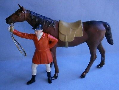 Hand Painted White Metal / Spelter Jockey Leading Horse made in Germany
