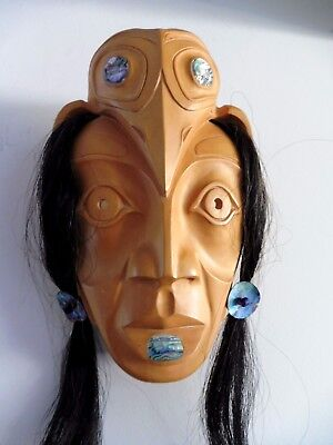 Northwest Coast First Nations native Art carving RAVEN Woman Mask, stunning!