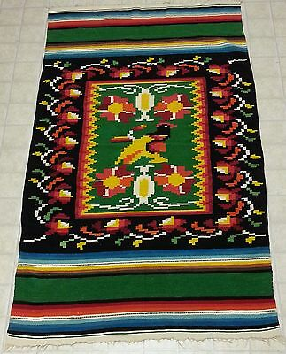Vtg Central American WESTERN SOUTHWEST MEXICO WOVEN RUG Multi Rooster Chicken