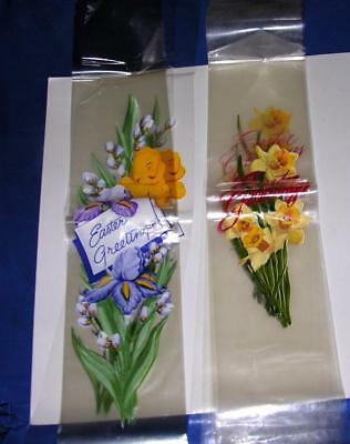 20 Pcs Vtg 1940's Easter Ribbon Bands, 2 Diff Lithograph On Clear Cellophane Nos