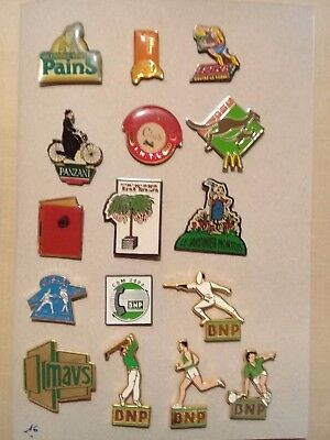 Lot de 16 pin's divers - BNP - Mac'Do - Panzani