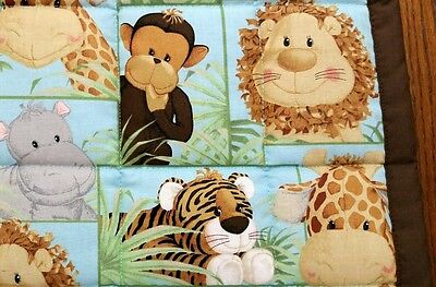 """NEW, HANDMADE, """"JUNGLE BABIES"""" 35x44in COTTON UNISEX BABY/TODDLER  QUILT -GIFT"""