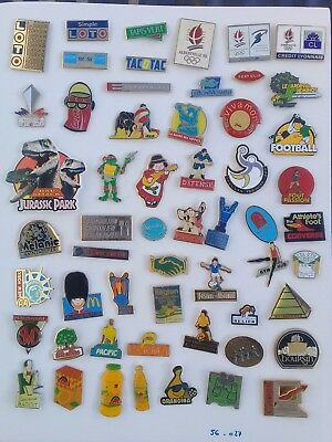 Lot de 55 pin's publicitaires divers - avec attaches - ( 55.027 )
