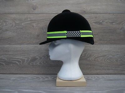 Reflective Riding Hat Band One Size Hi Viz Yellow with Black check Elastic Sides