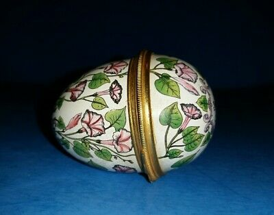 """Halcyon Days Enamel Egg """"With Affection"""" Floral Flowers Trinket Box."""