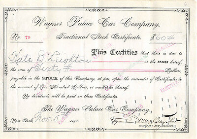 Wagner Palace Car 1890 Fractional Stock Certificate Pullman Rival