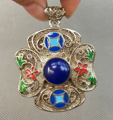 Chinese Handwork Miao Silver Carve Flower Inlay Bead Exquisite Beautiful Pendant