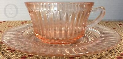 Anchor Hocking Pink Depression Glass* Queen Mary* Cup & Saucer-Mint*17316S S96