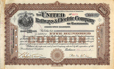United Railways & Electric Company of Baltimore Maryland 1899 Stock Certificate