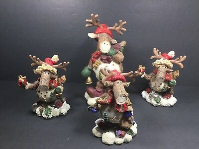 "Wood Look Winter Xmas Moose Figurines Cabin Decor Lodge Rustic Lot of 4 7"" & 4"""