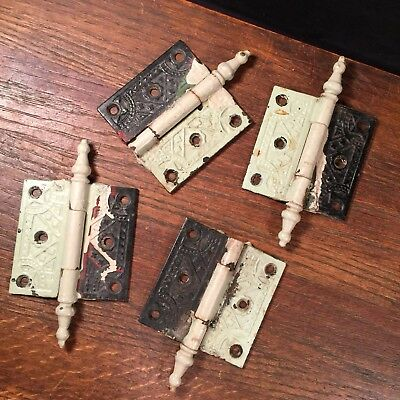 Vtg Antique Door Hinges Lot (4) Victorian 3x3 Ornate Steeple Tip PRIORITY MAIL