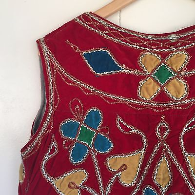 Rare Vintage 1970 Indian Embroidery Bohemian Quilted Red Velvet Hippy Vest M
