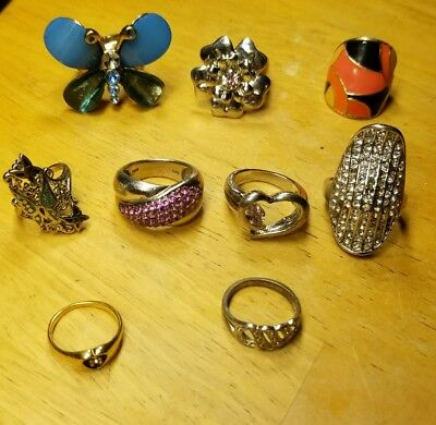 Vintage Costume Jewelry Rings Lot of 9 Some Signed Avon Thai One 14K G.L. Vtg
