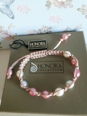 Honora Pink Leather Pearl Friendship Bracelet.