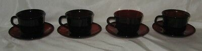Arcoroc 4 Ruby Red Classique Cups and Saucers J G Durand France