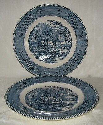"""Royal China Currier and Ives 2 Blue & White Dinner Plate 10"""" Lot B"""