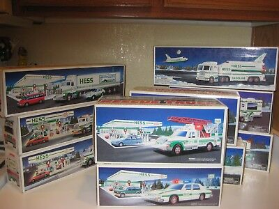 10 Hess Gas Annual Toy Trucks From 1990-1999 Mint Condition In Boxes