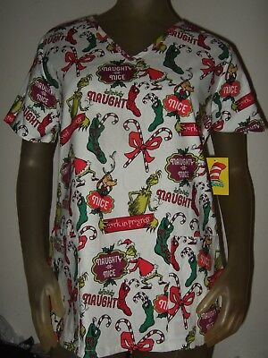 New Women's How The Grinch Stole Christmas Max Dr. Seuss Nurses Vet Scrubs Shirt