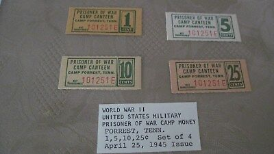 USA POW WW2 POW Camp Canteen Forrest TN 1/5/10/25 cents Set of 4