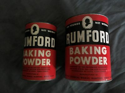 Rumford Baking Powder Tin Cans/Paper Labels, Rumford Chemical Works - 5 & 10 lbs