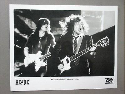 AC/DC promo photo 8 X 10 glossy black & white LIVE Malcom & Angus Young !