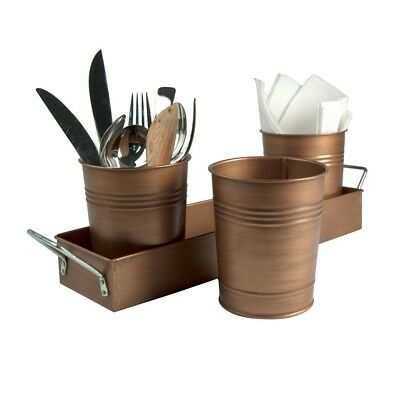 Flatware Caddy By Oasis, 3 Cups, Antique Copper,Bronze ,Removable ,Picnic