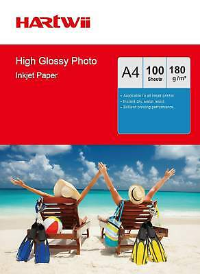 100-1000 Sheets A4 180 Gsm High Glossy Photo Paper Inkjet Paper Printer Hartwii