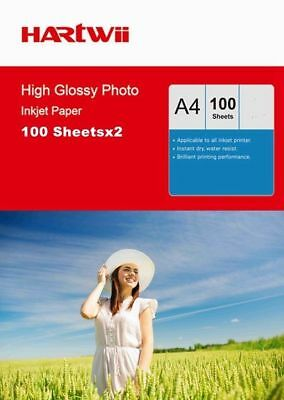 200 Sheets A4 180 / 230 / 240 / 260 Gsm High Glossy Photo Inkjet Paper Hartwi UK