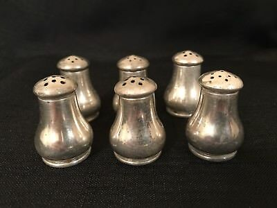 Lot of 6 pcs WALLACE STERLING SILVER 71 INDIVIDUAL SALT & PEPPER SHAKERS