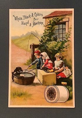 Victorian Trade Cards, J&P Coats Spool Cotton, Children, Doll, Dog, 1800's