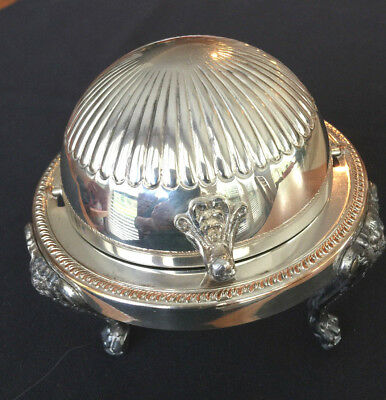 F. B. Rogers Silverplate Glass Vintage Butter/Caviar Dish Covered