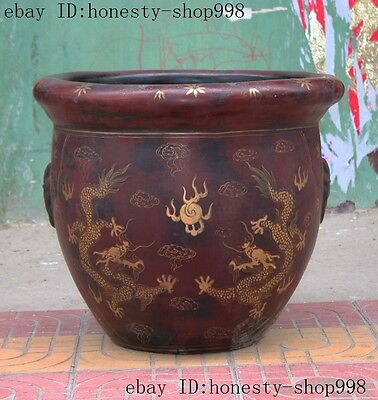 "21""Rare Old China Lacquerware wood Carved dragon play bead Lucky Pot jar Crock"