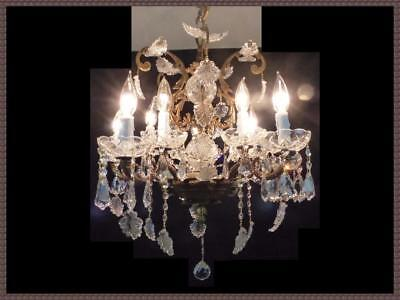 Exquisite Vintage Spanish Brass & Superb Crystals Rare Leaves 10 Light LOOK!!!!