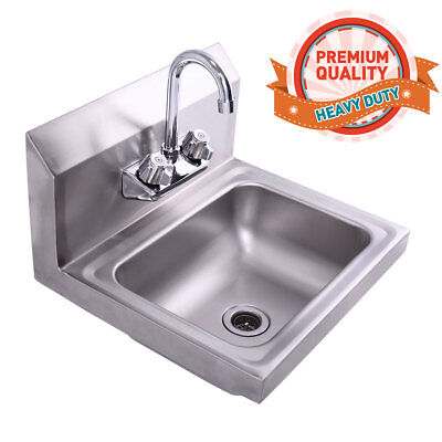"""Wall Mounted Stainless Steel Hand Sink,With Faucet 17"""" x 15"""" Silver"""