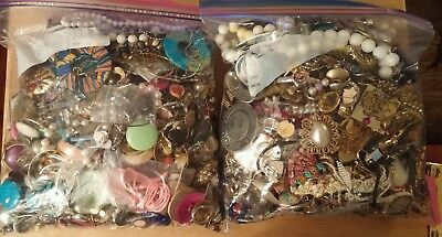 15 lbs. Large Lot of Vintage Jewelry for Parts Repurpose Craft Harvest